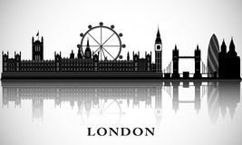 大厦都市风景海岸横向伦敦现代河显示泰晤士 传染媒介城市地平线 伦敦剪影