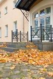 大厦门廊,散布与下落的叶子 免版税库存照片