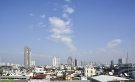 大厦风景在曼谷地平线的 免版税图库摄影