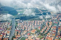 大厦鸟瞰图在伊斯坦布尔 免版税库存照片