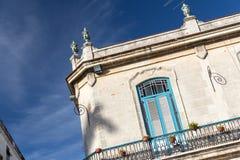 大厦细节在Plaza de la Catedral在哈瓦那旧城,古巴 库存图片