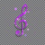 大发光的高音谱号 库存图片