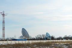 大号的卫星盘 一个主要互联网提供者 图库摄影