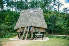 大叻,越南- 2017年2月17日:古芝大叻乡下、旅馆和度假胜地的Lan村庄在杉木密林,在草的阵营中 免版税库存图片