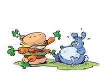 大吃汉堡包兔子 皇族释放例证