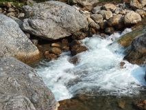 大吉岭岩石河流动 库存图片