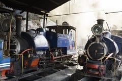 大吉岭,印度, 2017年3月3日:在火车站的蒸汽机车 库存照片