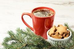 大咖啡 Newyear 姜饼曲奇饼 圣诞节我的投资组合结构树向量版本 免版税库存照片