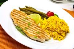 大咖喱烤猪肉米牛排 库存图片