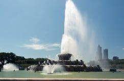 大喷泉在千禧公园,街市的芝加哥 图库摄影