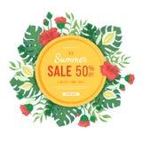 大圆的夏天销售横幅 木槿、叶子和花monstera,棕榈的花和芽 热带异乎寻常的模板海报 免版税库存图片