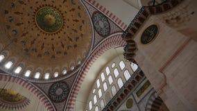 大圆顶的内在部分在苏莱曼尼耶清真寺的结构的 影视素材