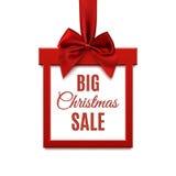 大圣诞节销售,方形的横幅以礼物的形式与红色丝带的 向量例证