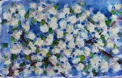 大在树,油画的分支的春天白花 库存照片