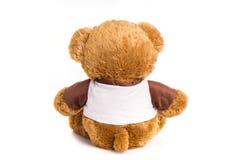 大在白色隔绝的玩具棕熊 图库摄影