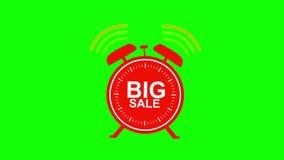大在绿色背景赋予生命的销售红色闹钟 4K 皇族释放例证