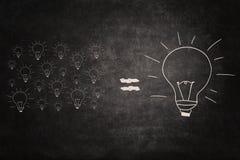 大在黑板的想法均等小想法 免版税库存图片