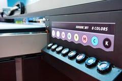 大型格式化紫外平板车打印机 库存图片