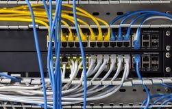 大型网络插孔面板 免版税库存照片
