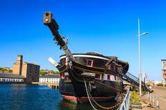 大型驱逐舰嗯独角兽在邓迪,苏格兰 免版税库存图片