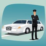 大型高级轿车或林肯的汽车夫 向量例证