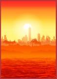 大城市例证日落向量 库存图片