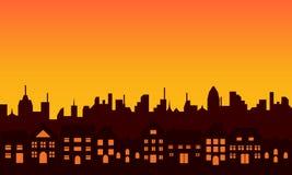 大城市剪影地平线 免版税库存照片