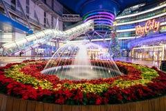 从大城市商城,新竹,台湾的圣诞节装饰 免版税库存图片