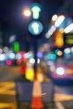 大城市的光和颜色在晚上 免版税库存图片
