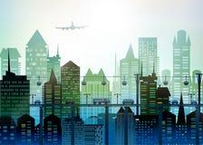 大城市的现代摩天大楼 与路、桥梁和汽车的背景 库存图片