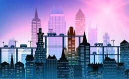 大城市的现代摩天大楼 与路、桥梁和汽车的背景 免版税库存图片
