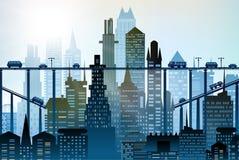 大城市的现代摩天大楼 与路、桥梁和汽车的背景 库存照片