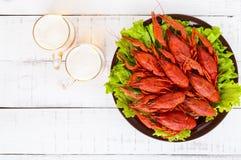 大堆在一块陶瓷板材的煮沸的小龙虾,两块玻璃 图库摄影