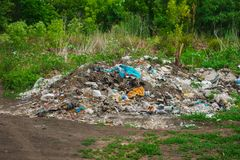 大堆垃圾在一块绿色森林沼地 图库摄影