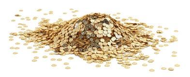 大堆金黄Bitcoins 免版税库存图片