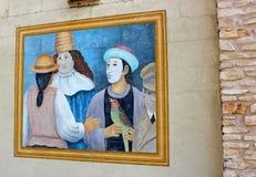 大墙壁绘与人,街道艺术的明亮和五颜六色的被掩没的面孔在街市奥斯汀,得克萨斯,2018å¹´ 库存照片
