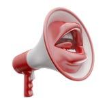 大声的嘴形状的报告人 免版税图库摄影