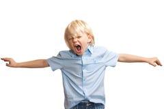 大声,叫喊的新男孩 免版税库存图片