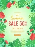 大夏天销售横幅 木槿、叶子monstera和棕榈的花和芽 印刷品的热带异乎寻常的模板海报设计 库存图片