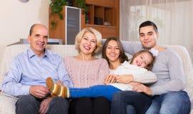 大多代家庭画象  库存图片