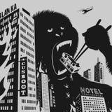 大大猩猩毁坏城市 库存照片