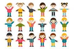 大套不同的动画片儿童形象 男孩和女孩白色背景的 Minimalistic平的现代象集合画象 免版税库存照片