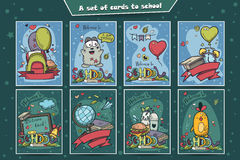 大套与乱画的彩色卡片回到学校 库存照片