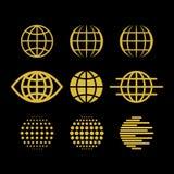 大套传染媒介地球,设计元素的汇集创造的商标 皇族释放例证