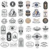 大套传染媒介葡萄酒裁缝徽章,贴纸,象征,标志 库存例证