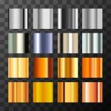 大套另外银和金子金属化梯度样片 库存例证