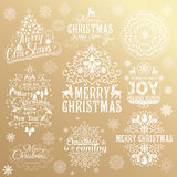 大套圣诞节书法设计元素 免版税库存照片