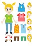 大套女孩建设者的衣裳 发型,礼服,鞋子,裤子, T恤杉 向量 库存例证