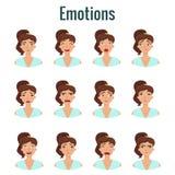 大套女孩` s情感 妇女` s面孔表示 向量例证