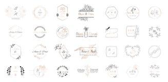 大套婚礼组合图案商标汇集,手拉的现代minimalistic和花卉模板邀请卡片的 库存例证